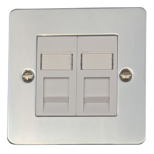 G&H FC64W Flat Plate Polished Chrome 2 Gang Slave BT Telephone Socket